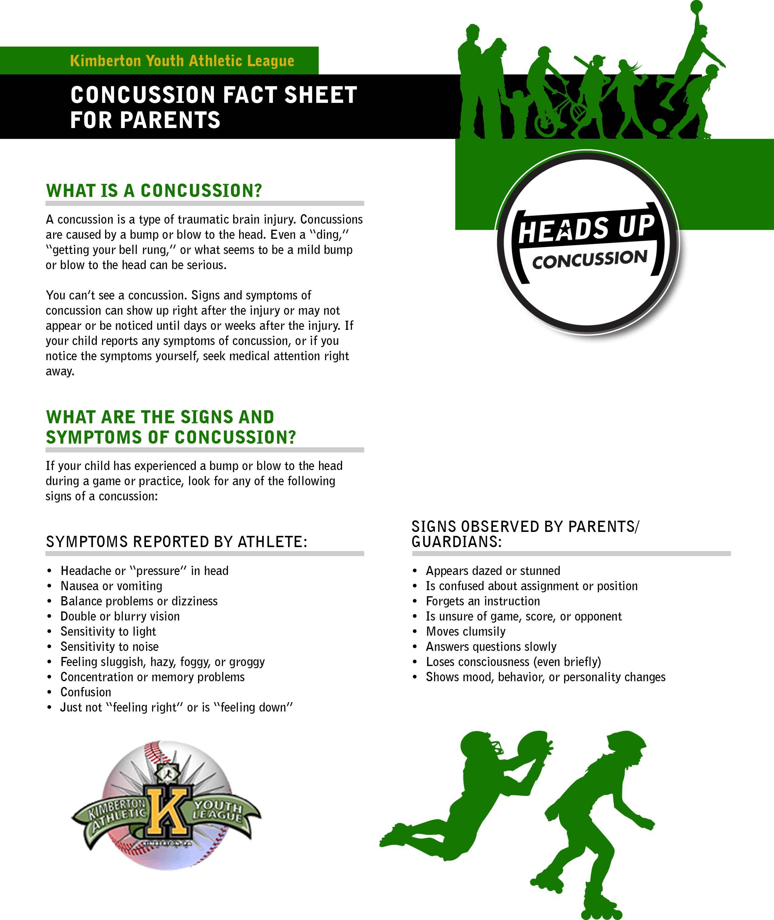 Concussion Fact Sheets